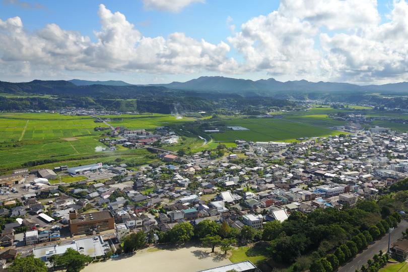 川辺中心部の上空写真