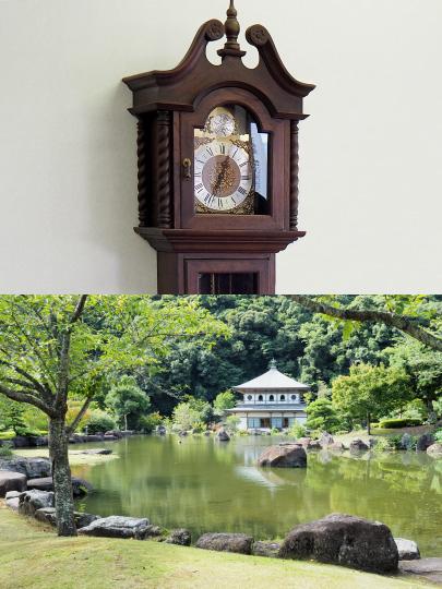 孝太郎商事の時計と岩屋公園にある桜の屋形